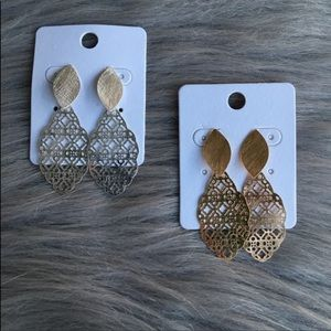 Filigree stud dangle earrings silver and gold